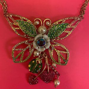 Betsey Johnson Butterfly Necklace NWT